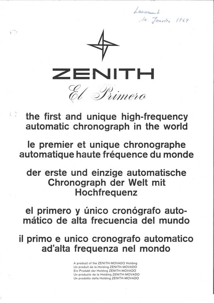 50 Jahre El Primero: Zenith Pressemitteilung von 1969