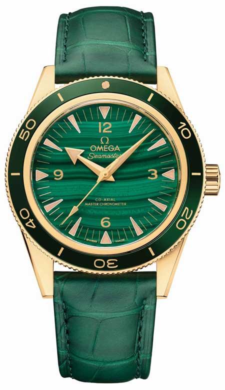 Omega Seamaster 300 Gelbgold Malachit
