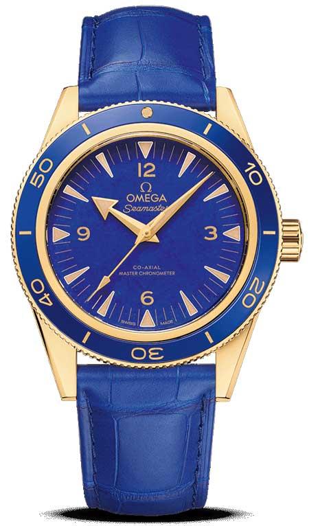 Omega Seamaster 300 Gelbgold Lapislazuli