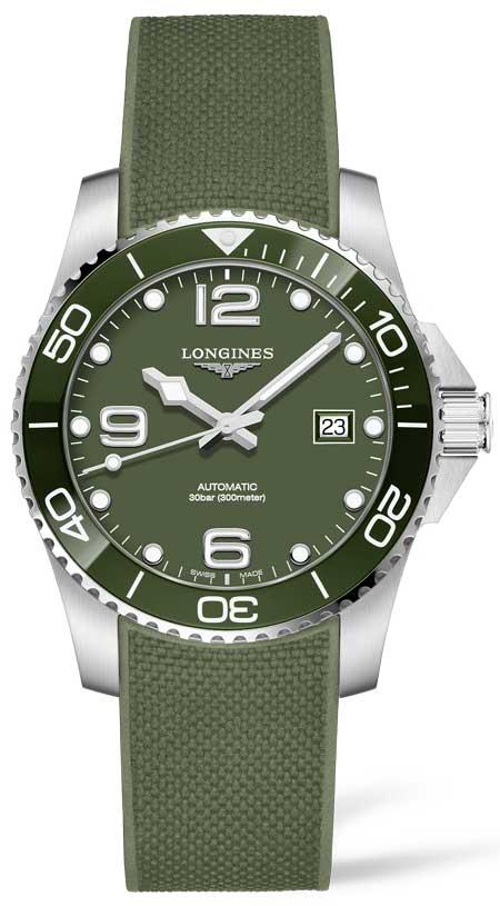 Longines HydroConquest IN Khaki- und Smaragdgrün