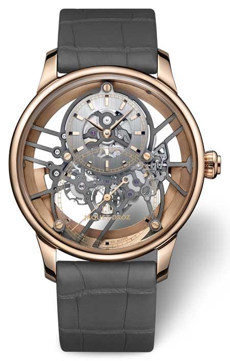 Jaquet Droz erweitert die Uhrenlinie Grande Seconde Skelet-One: moderne Plasmakeramik hält spektakulären Einzug und glänzt an der Seite des Rotgolds.