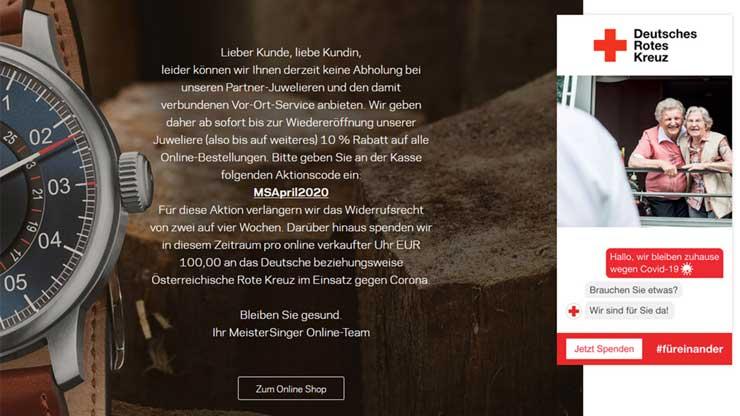 MeisterSinger online unterstützt Corona Hilfsfond