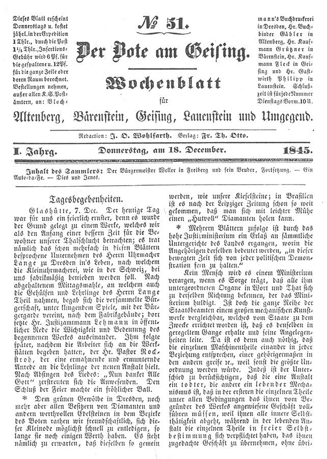 21 Historischer Pressebeitrag Von 1845 Zur Gründung Der Glashütter Uhrenindustrie © Deutsches Uhrenmuseum Glashütte Web