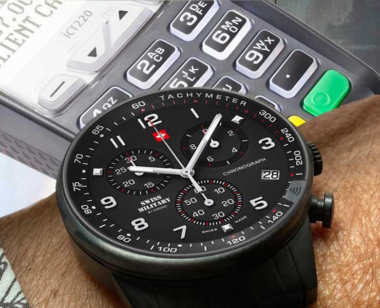 Uhr mit Stiss Saphir-Kristallglas mit Bezahlfunktion