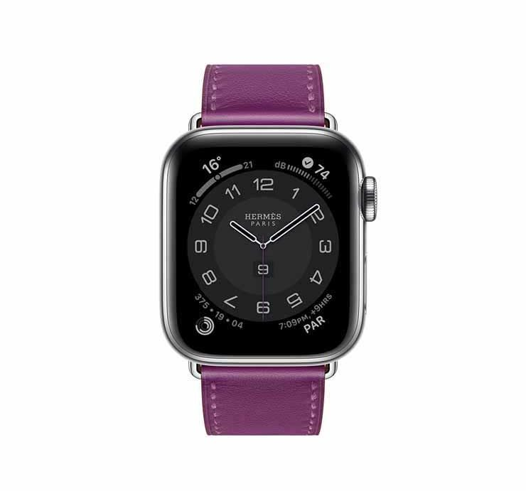 Apple Watch Hermes Series 6 44mm Anemone Swift Calfskin Simple Tour Strap.