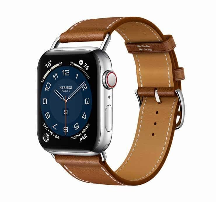 Apple Watch Hermes Series 6 44mm Fauve Barenia Calfskin Simple Tour Attelage Strap 2.