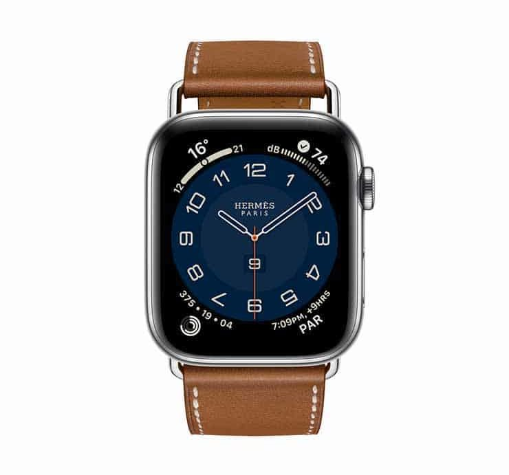 Apple Watch Hermes Series 6 44mm Fauve Barenia Calfskin Simple Tour Attelage Strap 3.