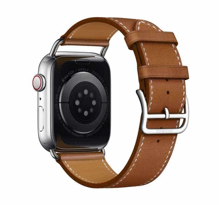 Apple Watch Hermes Series 6 44mm Fauve Barenia Calfskin Simple Tour Attelage Strap 4.