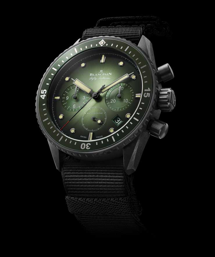 Fifty Fathoms Bathyscaphe Chronograph Flyback Green Dial